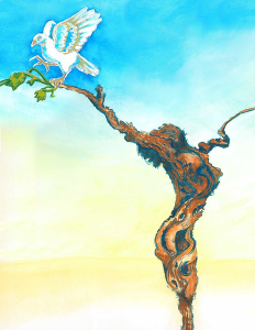 """The Vine"" This colorful and detailed surrealist piece is a hand-painted ink and watercolor painting. The twisted vine-like figure stretches up across a yellow to blue gradient sky with a dove lightly touching down on the branch. This surrealist piece was originally created for my friend's opera recital and senior show. Her compositions are inspired by John 15: The Vine and the Branches. Back when I was into snapchat. Music: Far from any Road by the Handsome Family"